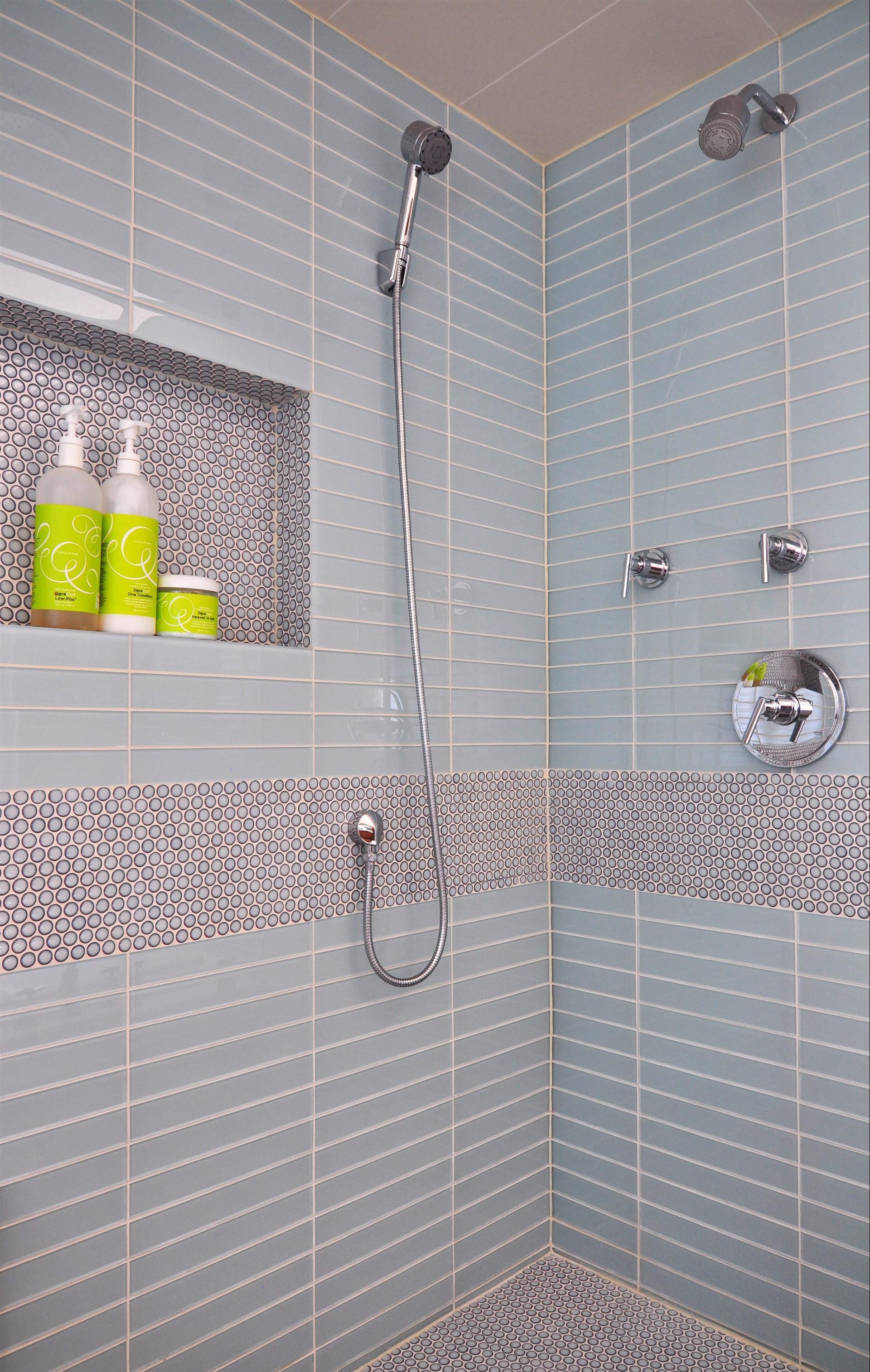 Bathroom Nook blue tile and shower nook bathroom remodel   stratagem