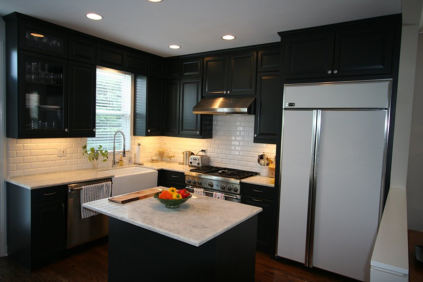Kitchen remodel custom black cabinets stratagem for Custom kitchen remodel