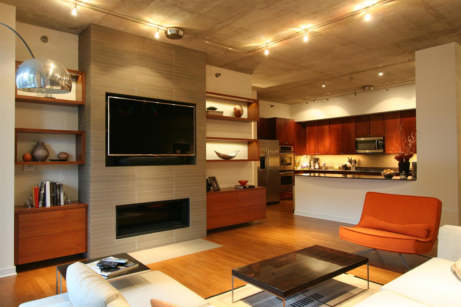 built-in fireplace entertainment center with floating shelves ...