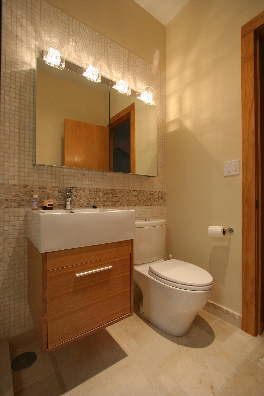 Wall Mounted Vanity Guest Bathroom Remodel